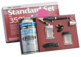 Badger Model 350 Airbrush Medium Single Action External Mix Airbrush and Airbrush Set #350-3