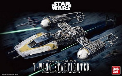 Bandai Models Y-Wing Star Fighter Star Wars -- Snap Tite Plastic Model Figure -- 1/72 Scale -- #196694