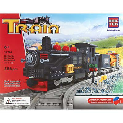 BRICTEK BUILDING BLOCKS Black Locomotive 586pcs -- Building Block Set -- #21704