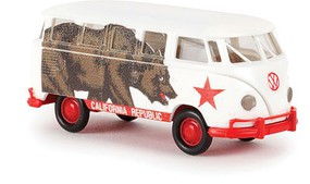 Berkina 1960-63 Volkswagen Samba T1b Passenger Van - Assembled California Republic (white, brown, red, Bear Graphics)