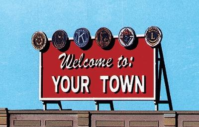 Blair Line Laser-Cut Wood Billboards Welcome to Yourtown -- HO Scale Model Railroad Roadway Accessory -- #1528