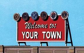 Blair-Line Laser-Cut Wood Billboards Welcome to Yourtown HO Scale Model Railroad Roadway Accessory #1528