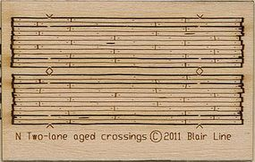 Blair-Line Wood Grade Crossing Kit Rough-Cut Two Lane pkg(2) N Scale Model Railroad Accessory #20