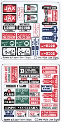 Blair Line Signs Tavern & Liquor Store Signs -- N Scale Model Railroad Billboard Sign -- #059