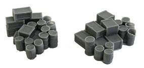 Bar-Mills Assorted Crates & Barrels - Unpainted N Scale Model Railroad Building Accessory #1001