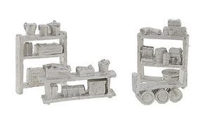 Bar-Mills Assorted Shelving & Storage - Unpainted HO Scale Model Railroad Building Accessory #208