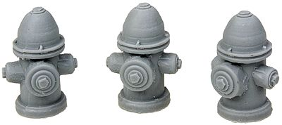 Bar Mills Fire Hydrants - Unpainted pkg(3) -- O Scale Model Railroad Building Accessory -- #4026