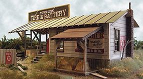 Bar-Mills Town Line Tire & Battery - Kit - 7 x 11 17.8 x 27.9cm O Scale Model Railroad Building #604
