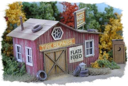 Bar Mills Magee's Tire Service - Laser-Cut Wood Kit -- HO Scale Model Railroad Building -- #772