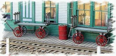 Bar Mills Baggage Carts -- HO Scale Model Railroad Building Accessory -- #782