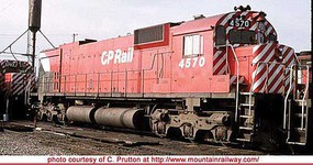 Bowser Montreal Locomotive Works M630 - Standard DC - Executive Line Canadian Pacific 4570 (Action Red, 5 Stripe, Large Multimark, Water Exp. T