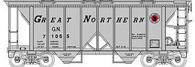 Bowser 70-Ton 2-Bay Covered Hopper Great Northern #71055 HO Scale Model Train Freight Car #40311