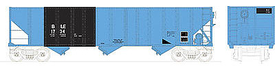 Bowser Manufacturing Co. 100 ton 3-Bay Hopper Bessemer & Lake Erie #163 -- HO Scale Model Train Freight Car -- #41490