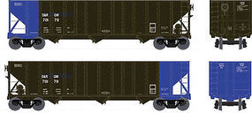 Bowser 100-Ton 3-Bay Open Hopper D&RGW #70179 HO Scale Model Train Freight Car #41508