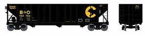 Bowser 100-Ton 3-Bay Open Hopper - Ready to Run - Executive Line Chessie System B&O 163589 (black, yellow)