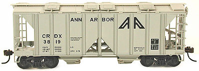 Bowser Manufacturing Co. 70 Ton 2-Bay Covered Hopper Open Side Ann Arbor -- HO Scale Model Train Freight Car -- #56961