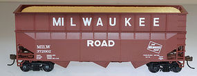 Bowser 70-Ton 40 foot 3-Bay Offset Woodchip Hopper Milwaukee HO Scale Model Train Freight Car #57011