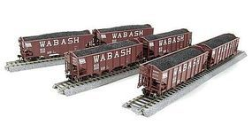 Broadway H2A 3-Bay Hopper w/Load 6-Pack Wabash Set A N Scale Model Train Freight Car #3132
