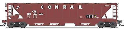 Broadway Limited Imports H32 5-Bay Covered Hopper 4-Pack Conrail Set A -- N Scale Model Train Freight Car -- #3172