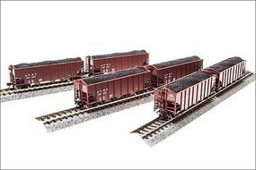 Broadway 3-Bay Hopper ATSF (6) HO Scale Model Train Freight Car Set #4452