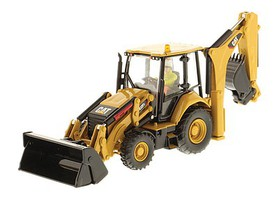 B2B-Replicas Caterpillar 432F2 Side Shift Backhoe Loader - Assembled - DM High Line Series Yellow, Black - 1/50 Scale