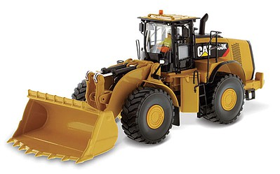 B2B Replicas Caterpillar 980K Wheel Loader - Assembled - DM High Line Series -- Rock Configuration Yellow, Black - 1/50 Scale