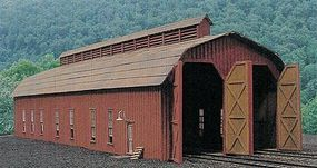 BTS Two-Stall Engine House Kit HO Scale Model Railroad Building #27446