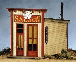 BTS Red Eye Saloon - 2 x 3-3/8 HO Scale Model Railroad Building #27460