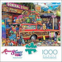 Buffalo-Games Aimee Stewart- Family Vacation Puzzle Station Wagon Loaded w/Stuff, General Store) (1000pc)