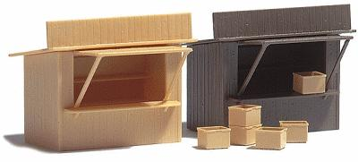 Busch Gmbh 2 Stands/Market Stalls w/Crates - Kit -- HO Scale Model Railroad Building -- #1055