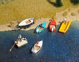 Busch Boat/Raft Set w/Trailer - Kit - 4 Boats, 1 Raft HO Scale Model Railroad Vehicle #1157