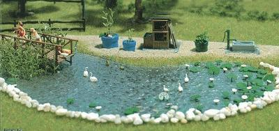 Busch Gmbh Garden Pond Set - Kit -- HO Scale Model Railroad Building Accessory -- #1210