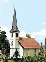 Busch Wooden Church - Kit - 6-11/16 x 3-1/16 x 10 HO Scale Model Railroad Building #1430