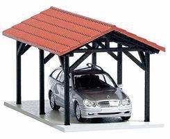 Busch Carport Kit w/Vehicle HO Scale Model Railroad Building #1481