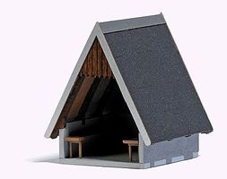 Busch Refuge Hut w/Benches - Laser-Cut Wood & Card Kit HO Scale Model Railroad Building #1560