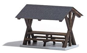 Busch Table & Benches w/Canopy - Laser-Cut Wood Kit HO Scale Model Railroad Building #1563