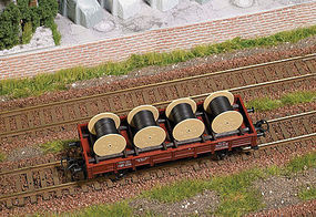 Busch Cable Roll Load (4) HO Scale Model Train Freight Car Load #1681