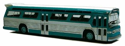 Busch Gmbh 1959 GMC TDH-5301 Fishbowl City Bus Green & Silver -- HO Scale Model Railroad Vehicle -- #44500