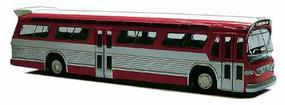 Busch 1959 GMC TDH-5301 Fishbowl City Bus Red, Silver HO Scale Model Railroad Vehicle #44501