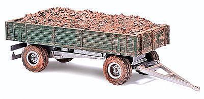 Busch Gmbh 1958 Low-Sided Farm Trailer With Manure Load -- HO Scale Model Railroad Vehicle -- #44922