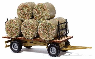 Busch Gmbh Hay Trailer - Assembled - w/Round Baled Load -- HO Scale Model Railroad Vehicle -- #44930