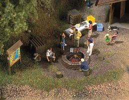 Busch Campfire Scene HO Scale Model Railroad Building Accessory #5407