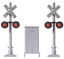 Busch Crossing Signal 2 Signals & Relay Box HO Scale Model Railroad Trackside Accessory #5934