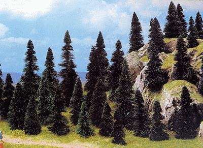 Busch Gmbh Pine Tree Assortment - 2-3/8 - 4-11/32'' (50) -- HO Scale Model Railroad Tree -- #6497