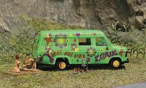 Busch Complete Miniature Scene - Hippies Camping HO Scale Model Railroad Figure #7702