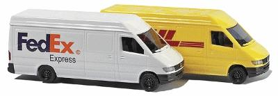 Busch Gmbh Mercedes Sprinter 2-Pack - 1 Each- Fed Ex & DHL (2) -- N Scale Model Railroad Vehicle -- #8304