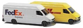 Busch Mercedes Sprinter 2-Pack - 1 Each- Fed Ex & DHL (2) N Scale Model Railroad Vehicle #8304