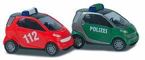 Busch Smart City Coupe 2-Door Subcompact Set - Police & Fire N Scale Model Railroad Vehicle #8351