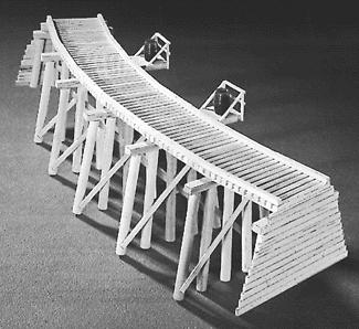 Campbell Scale Model Low Curved Timber Trestle Kit -- N Scale Model Railroad Trestle Kit -- #753