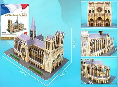 Cubic Fun Notre Dame Cathedral (Paris, France) (74pcs) -- 3D Jigsaw Puzzle -- #54